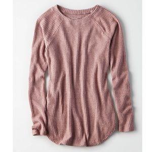 AEO soft & sexy plush pink waffle crew thermal